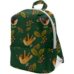Cute Seamless Pattern Bird With Berries Leaves Zip Up Backpack