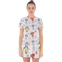 Cute Cartoon Robots Seamless Pattern Drop Hem Mini Chiffon Dress