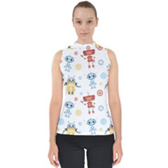 Cute Cartoon Robots Seamless Pattern Mock Neck Shell Top