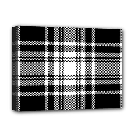 Pixel Background Design Modern Seamless Pattern Plaid Square Texture Fabric Tartan Scottish Textile Deluxe Canvas 16  X 12  (stretched)