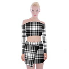 Pixel Background Design Modern Seamless Pattern Plaid Square Texture Fabric Tartan Scottish Textile Off Shoulder Top With Mini Skirt Set by BangZart