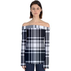 Pixel Background Design Modern Seamless Pattern Plaid Square Texture Fabric Tartan Scottish Textile Off Shoulder Long Sleeve Top