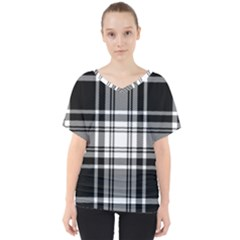 Pixel Background Design Modern Seamless Pattern Plaid Square Texture Fabric Tartan Scottish Textile V-neck Dolman Drape Top