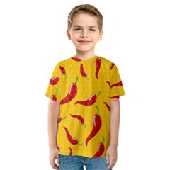 Chili Vegetable Pattern Background Kids  Sport Mesh Tee