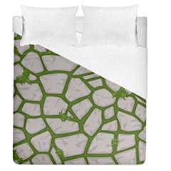 Cartoon Gray Stone Seamless Background Texture Pattern Green Duvet Cover (queen Size)