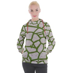 Cartoon Gray Stone Seamless Background Texture Pattern Green Women s Hooded Pullover