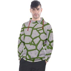 Cartoon Gray Stone Seamless Background Texture Pattern Green Men s Pullover Hoodie