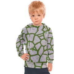 Cartoon Gray Stone Seamless Background Texture Pattern Green Kids  Hooded Pullover