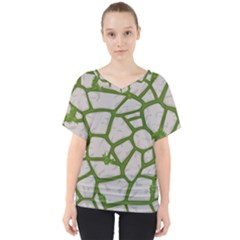 Cartoon Gray Stone Seamless Background Texture Pattern Green V-neck Dolman Drape Top