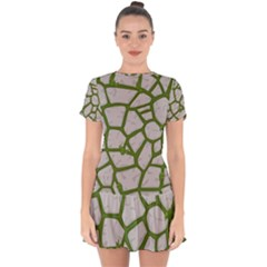 Cartoon Gray Stone Seamless Background Texture Pattern Green Drop Hem Mini Chiffon Dress