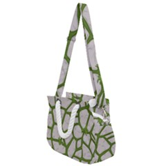 Cartoon Gray Stone Seamless Background Texture Pattern Green Rope Handles Shoulder Strap Bag
