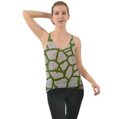 Cartoon Gray Stone Seamless Background Texture Pattern Green Chiffon Cami