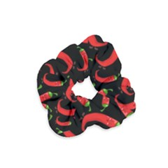 Seamless Vector Pattern Hot Red Chili Papper Black Background Velvet Scrunchie