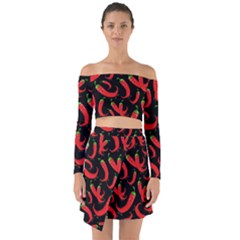 Seamless Vector Pattern Hot Red Chili Papper Black Background Off Shoulder Top With Skirt Set