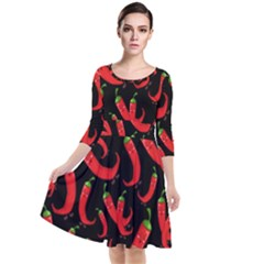 Seamless Vector Pattern Hot Red Chili Papper Black Background Quarter Sleeve Waist Band Dress