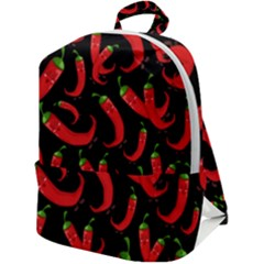 Seamless Vector Pattern Hot Red Chili Papper Black Background Zip Up Backpack