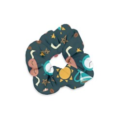 Seamless Pattern With Breakfast Symbols Morning Coffee Velvet Scrunchie