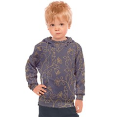 Seamless Pattern Gold Floral Ornament Dark Background Fashionable Textures Golden Luster Kids  Hooded Pullover