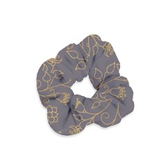 Seamless Pattern Gold Floral Ornament Dark Background Fashionable Textures Golden Luster Velvet Scrunchie