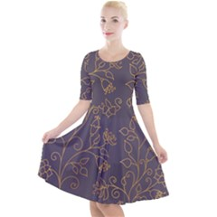Seamless Pattern Gold Floral Ornament Dark Background Fashionable Textures Golden Luster Quarter Sleeve A-line Dress