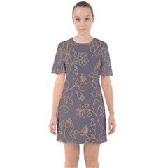 Seamless Pattern Gold Floral Ornament Dark Background Fashionable Textures Golden Luster Sixties Short Sleeve Mini Dress