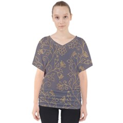 Seamless Pattern Gold Floral Ornament Dark Background Fashionable Textures Golden Luster V-neck Dolman Drape Top