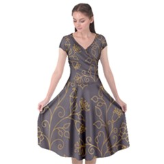 Seamless Pattern Gold Floral Ornament Dark Background Fashionable Textures Golden Luster Cap Sleeve Wrap Front Dress