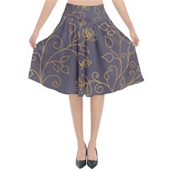 Seamless Pattern Gold Floral Ornament Dark Background Fashionable Textures Golden Luster Flared Midi Skirt