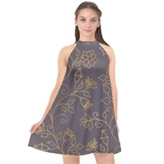 Seamless Pattern Gold Floral Ornament Dark Background Fashionable Textures Golden Luster Halter Neckline Chiffon Dress