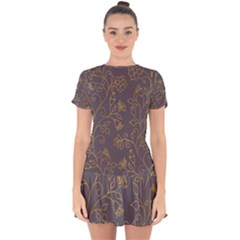 Seamless Pattern Gold Floral Ornament Dark Background Fashionable Textures Golden Luster Drop Hem Mini Chiffon Dress