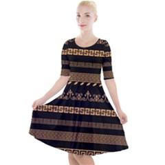 Set Antique Greek Borders Seamless Ornaments Golden Color Black Background Flat Style Greece Concept Quarter Sleeve A-line Dress