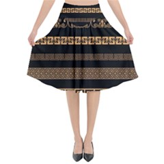 Set Antique Greek Borders Seamless Ornaments Golden Color Black Background Flat Style Greece Concept Flared Midi Skirt