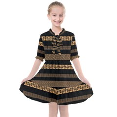 Set Antique Greek Borders Seamless Ornaments Golden Color Black Background Flat Style Greece Concept Kids  All Frills Chiffon Dress by BangZart