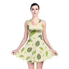 Leaf Spring Seamless Pattern Fresh Green Color Nature Reversible Skater Dress