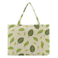 Leaf Spring Seamless Pattern Fresh Green Color Nature Medium Tote Bag