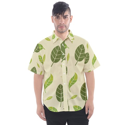 Leaf Spring Seamless Pattern Fresh Green Color Nature Men s Short Sleeve Shirt by BangZart