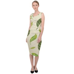 Leaf Spring Seamless Pattern Fresh Green Color Nature Sleeveless Pencil Dress