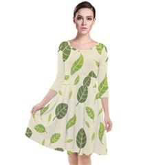 Leaf Spring Seamless Pattern Fresh Green Color Nature Quarter Sleeve Waist Band Dress
