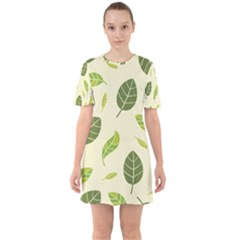 Leaf Spring Seamless Pattern Fresh Green Color Nature Sixties Short Sleeve Mini Dress