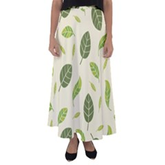 Leaf Spring Seamless Pattern Fresh Green Color Nature Flared Maxi Skirt