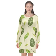 Leaf Spring Seamless Pattern Fresh Green Color Nature Long Sleeve Chiffon Shift Dress