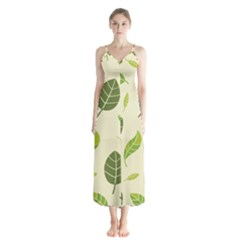 Leaf Spring Seamless Pattern Fresh Green Color Nature Button Up Chiffon Maxi Dress