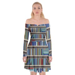 Bookshelf Off Shoulder Skater Dress