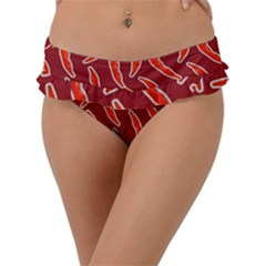Chili Pattern Red Frill Bikini Bottom by BangZart