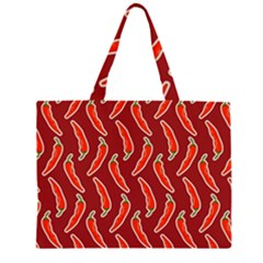 Chili Pattern Red Zipper Large Tote Bag