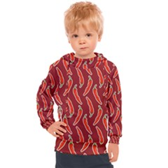 Chili Pattern Red Kids  Hooded Pullover
