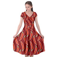 Chili Pattern Red Cap Sleeve Wrap Front Dress