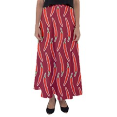 Chili Pattern Red Flared Maxi Skirt