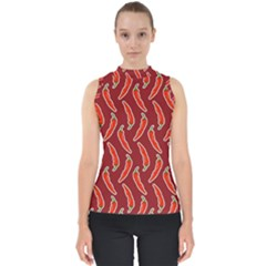 Chili Pattern Red Mock Neck Shell Top