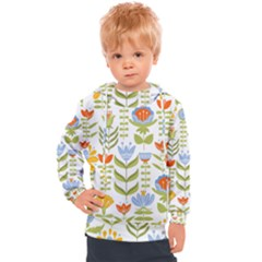 Seamless Pattern With Various Flowers Leaves Folk Motif Kids  Hooded Pullover